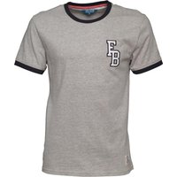 Fred & Boston Mens Ringer T-Shirt With Applique Grey Marl/Navy
