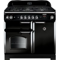 Rangemaster CLA100DFFBL/C 90 cm Dual Fuel Range Cooker - Black & Chrome, Black