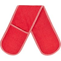 House by John Lewis Woven Cotton Double Oven Glove, Red