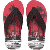 Mad Wax Junior Boys Palm Tree Print Flip Flops Black/Red