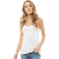 Fluid Womens Scoop Neck Ribbed Vest White
