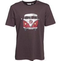 Kangaroo Poo Mens Front/Back Camper Van Print T-Shirt Charcoal/Red