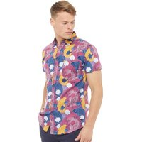 Fluid Mens Koi Print Short Sleeve Shirt Claret