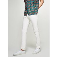 Mens Off White Stretch Slim Jeans, White