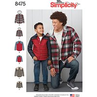 Simplicity Men's and Boys' Shirt Jacket Sewing Pattern, 8475