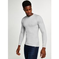 Mens Grey And White Twist Ribbed Jumper, Grey