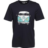 Kangaroo Poo Mens Front/Back Camper Van Print T-Shirt Navy/Angel Blue