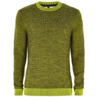 Mens Yellow Textured Jumper, Yellow