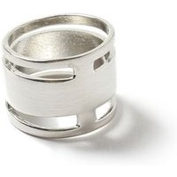 Mens GOLD Silver Look Cut Out Band Ring*, GOLD