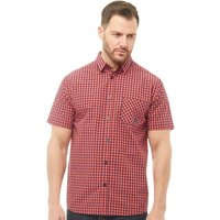Kangaroo Poo Mens Short Sleeve Checked Shirt Coral/Navy