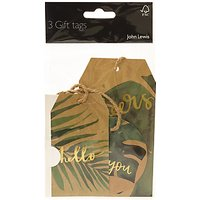 John Lewis & Partners Tropical Leaf Tags, Green / Gold, Pack of 3