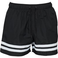 Fred & Boston Mens Taslan Shorts With Leg Stripes Black