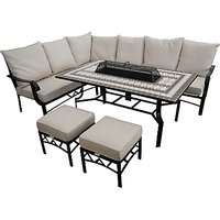 LG Outdoor Casablanca 7 Seater Garden Modular Dining Table and Chairs Set with Firepit, Charcoal