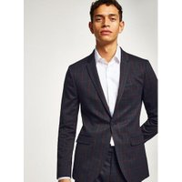 Mens Navy and Red Check Ultra Skinny Suit Jacket, Navy