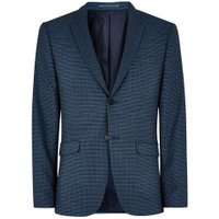 Mens Blue Mini Check Skinny Suit Jacket, Blue