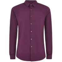 Mens Purple Plum Textured Muscle Fit Long Sleeve Shirt, Purple