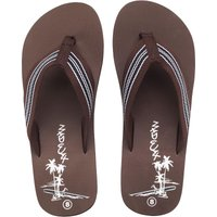 Mad Wax Mens Striped Thong Flip Flops Brown
