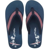 Mad Wax Mens Striped Thong Flip Flops Navy