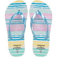 Board Angels Womens Stripe Print Flip Flops Multi