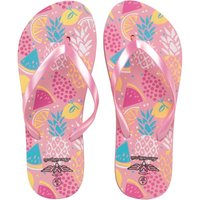 Board Angels Womens Tropical Print Flip Flops Pink/Multi