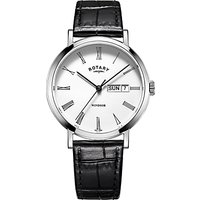 Rotary GS05300/01 Men's Windsor Day Date Leather Strap Watch, Black/White