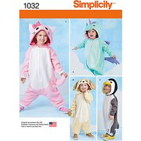 Simplicity Toddlers' Animal Costumes Sewing Pattern, 1032