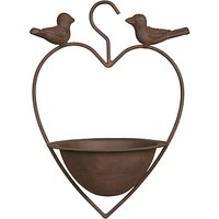 Ivyline Cast Iron Heart Shaped Bird Feeder, Bronze