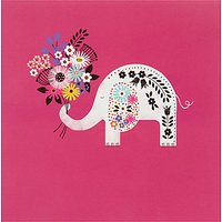 Woodmansterne Elephant With Flowers Greeting Card
