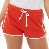 Brave Soul Womens Lillian Contrast Piping Shorts Red/White