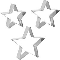 John Lewis & Partners Stainless Steel Star Cookie Cutters, Set of 3