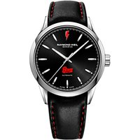 Raymond Weil 2731-ST-BOW01 Men's Freelancer Bowie Limited Edition Leather Strap Watch, Black