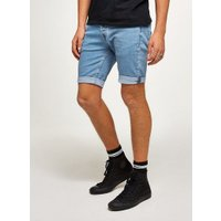 Mens Blue Bleach Stretch Skinny Denim Shorts, Blue