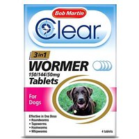 Bob Martin Clear 3 in 1 Wormer 150/144/50mg Tablets For Dogs - 4 tablets