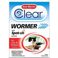Bob Martin Clear Wormer 20mg Spot-on Solution For Cats & Kittens - 4 tubes