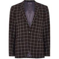 Mens Black And White Windowpane Check Skinny Suit Jacket, Black