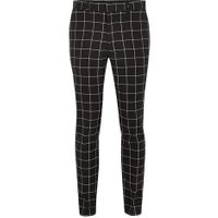 Mens Black And White Windowpane Check Skinny Suit Trousers, Black