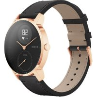 NOKIA Steel HR 36 Fitness Watch - Rose Gold & Black, Leather Strap, Gold