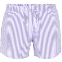 Mens Purple Lilac and White Stripe Swim Shorts, Purple