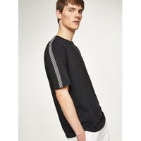 Mens Black Taping Oversized T-Shirt, Black