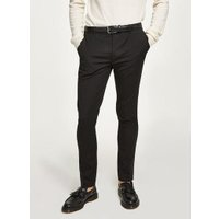 Mens Black Super Skinny Fit Smart Trousers, Black