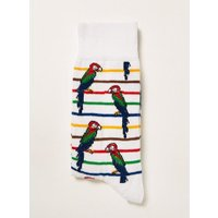 Mens White Parrot Stripe Socks, White