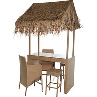 Wicker Rattan Tiki Bar With 2 Stools & 2 Chairs