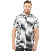 Kangaroo Poo Mens Yarn Dyed Gingham Seersucker Short Sleeve Shirt Navy/White