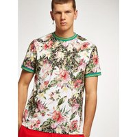 Mens White Floral Tipped T-Shirt, White