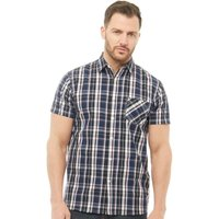 Onfire Mens Checked Short Sleeve Shirt Navy/Cherry/White