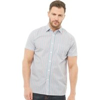 Onfire Mens Striped Short Sleeve Shirt Blue/Red/White