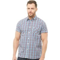 Onfire Mens Checked Short Sleeve Shirt Royal/Turquoise/Burgundy/White