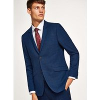 Mens Blue Navy With Subtle Windowpane Check Skinny Suit Jacket, Blue