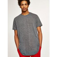 Mens White Black Textured Longline T-Shirt, White