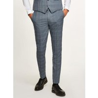 Mens Blue Tonal Check Skinny Suit Trousers, Blue